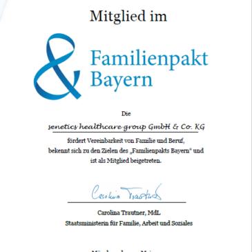 "senetics ist Mitglied im ""Familienpakt Bayern"""